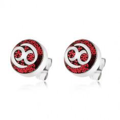 Cercei din oţel 316L, decoraţi cu sclipici roşu şi cu un ornament