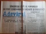 ziarul adevarul 26 decembrie 1989-procesul si executia familiei ceausescu