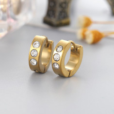 Cercei hoop gold fete sau baieti tije metalice si pietricele