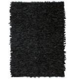 Cumpara ieftin Covor fire lungi, piele naturală, 160x230 cm, Negru