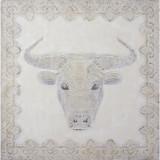 Cap de taur - pictura in ulei in relief OP-27, Animale, Realism