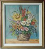 Cos cu flori multicolore, natura statica , tablou, pictura in ulei