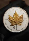 Moneda Argint 999.1 uncie.Canada 2020.Maple Leaf privy mark Snake.Gold finish., America de Nord