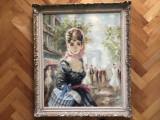 Tablou,pictura veche franceza,femeie pe Champs Elysees
