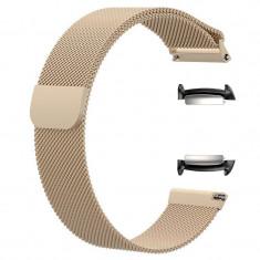 Curea tip Milanese Loop, adaptoare compatibile Samsung Gear Fit 2, Retro Gold