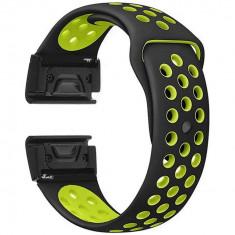 Curea ceas Smartwatch Garmin Fenix 3 / Fenix 5X, 26 mm iUni Silicon Sport Negru-Galben