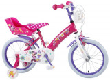 Bicicleta copii Volare Minnie Mouse cu roti ajutatoare 16 inch cu 2 frane mana