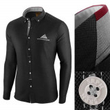 Camasa pentru barbati, neagra, slim fit - Leon Classic, 3XL, L, M, S, XL, XXL, Maneca lunga