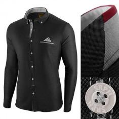 Camasa pentru barbati, neagra, slim fit - Leon Classic