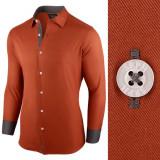 Camasa pentru barbati rosu maro regular fit bumbac casual Business Class Ultra
