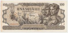 ROMANIA 100 LEI 5 DECEMBRIE 1947 AUNC foto
