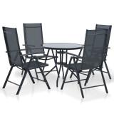 Set mobilier de exterior, 5 piese, aluminiu și textilenă, negru
