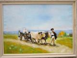 Tablou / Pictura car cu boi semnat Cimpoesu dupa Grigorescu., Istorice, Ulei, Realism