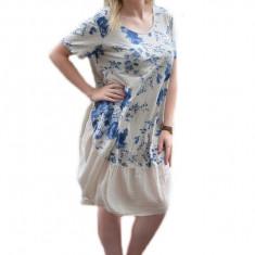 Rochie lejera de zi, masura mare, nuanta bej cu design floral