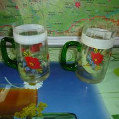 Halbe bere vintage pictate manual (set 2 bucăți)