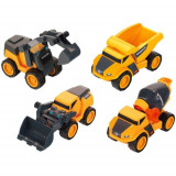 Set Utilaje de Constructie Volvo format din Excavator, Betoniera, Incarcator si Transportor, Scara 1:24, Klein