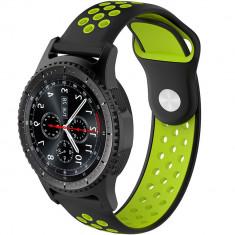 Curea ceas Smartwatch Samsung Gear S3, iUni 22 mm Silicon Sport Black-Green