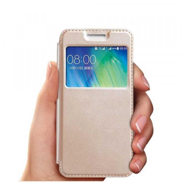 Husa Samsung S9 Aurie Portofel cu Fereastra Carte Flip Book cu Inchidere Magnetica