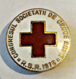 MEDICINA INSIGNA CONGRESUL SOCIETATII DE CRUCE ROSIE RSR 1978 BRONZ 23,50 MM, Romania de la 1950