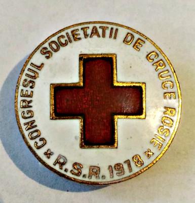 MEDICINA INSIGNA CONGRESUL SOCIETATII DE CRUCE ROSIE RSR 1978 BRONZ 23,50 MM foto