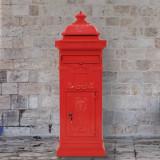 Cutie poștală stâlp, aluminiu, stil vintage, inoxidabil, roșu, vidaXL