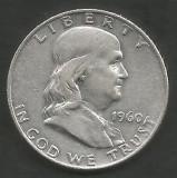 SUA - STATELE UNITE 1/2 - HALF DOLLAR ( 50 CENTI ) 1960 , FRANKLIN lit D  ARGINT, America de Nord