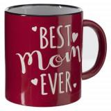 Cana XL Best Mom, ceramica, rosu,10x11 cm, 650 ml