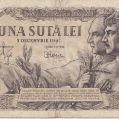 ROMANIA 100 LEI 5 DECEMBRIE 1947 F FILIGRAN RPR