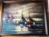 Tablou,pictura belgiana in ulei pe panza,peisaj marin, Peisaje, Altul