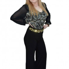 Pantalon fashion, neagru, cu croiala larga, in forma de fusta