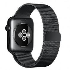 Curea pentru Apple Watch Black Milanese Loop iUni 42mm Otel Inoxidabil
