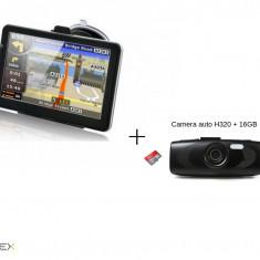 GPS Auto 7inch HD IGO 3D + Camera auto H320 cu card de 16GB Cadou!