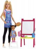 Cumpara ieftin Barbie Cariere Set Mobilier Cu Papusa Profesoara De Pictura, Mattel