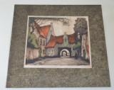 Curte interioara veche litografie stil Art Nouveau cca 1900, Peisaje, Cerneala