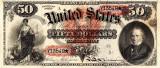 50 dolari 1869 Reproducere Bancnota USD , Dimensiune reala 1:1