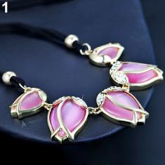 Colier fashion, deosebit si stilat model lalele - lila