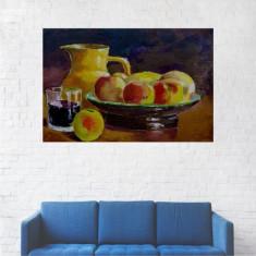 Tablou Canvas, Bol cu Mere, Pahar de Vin - 40 x 60 cm