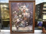 Tablou,litografie franceza,vaza cu flori,rama din lemn