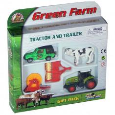 Jucarie Set tractor cu utilaje agricole si jeep