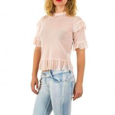Bluza usor transparenta, de culoare roz, cu maneci scurte, L, S
