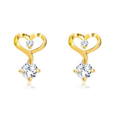 Cercei din aur galben de 14K - contur de inimă cu diamante foto