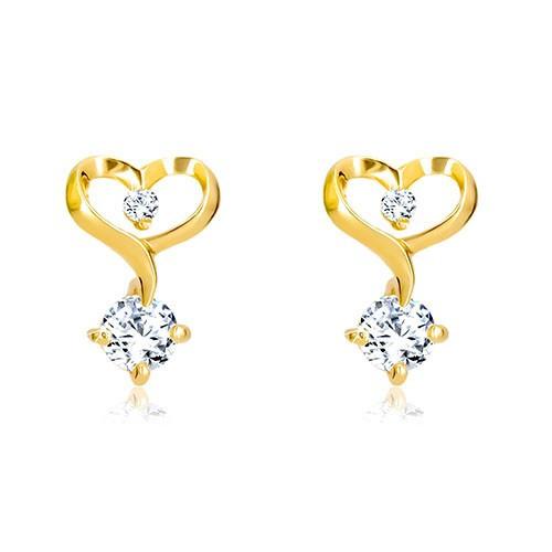 Cercei din aur galben de 14K - contur de inimă cu diamante