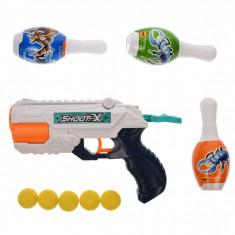 Pistol de jucarie, cu apa si bile din spuma, popice, cu presiune - JY64831