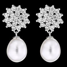 Cercei din Argint 925 cu Perle Naturale si Diamante, Ambra