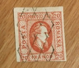ROMANIA 1865 - CUZA, 20 PARALE ROSU, timbru stampilat, S8