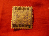 Timbru Wurtemberg 1919 20 pf cu supratipar , sarniera, Nestampilat