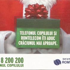 România, telefonul copilului, cartelă telefonică Romtelecom, 2009