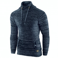 Pulover pentru barbati bleumarin guler inalt flex fit casual Alaska Snowboarder