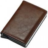 Cumpara ieftin Portofel unisex, port card iUni P1, RFID, Compartiment 6 carduri, Brun inchis