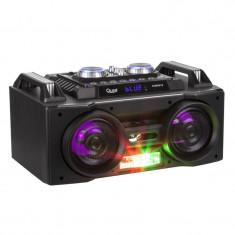 Sistem Audio Activ Portabil cu Telecomanda, Microfon, Radio FM, Player MP3, Bluetooth, USB, AUX, Card SD, Functie Karaoke si Iluminare LED RGB, Putere